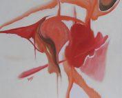 Impressions in red - Olieverf op doek - 40x40